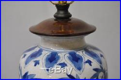 Pair Asian Style Porcelain And Wood Ginger Jar Table Lamps In Blue And White
