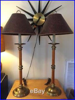 Pair Chapman Leather Wrapped Buffet Table Lamps Hollywood Regency Traditional