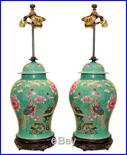 Pair Chinese Famille Rose Porcelain Vases as Table Lamps
