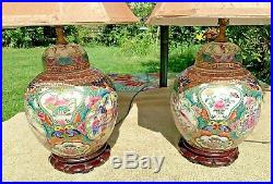 Pair Chinese Rose Medallion Porcelain Table Lamps, Magnificent 25t-pristine
