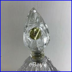 Pair Crystal Lamps Clear Heavy Cut Glass Vanity Table Boudoir Night Lights 19 in