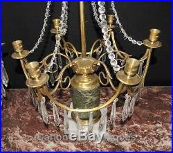 Pair Empire Ormolu Candelabras Chandeliers Table Lamps Green Marble
