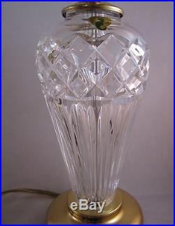 Pair- Genuine WATERFORD CRYSTAL Lamps withBrass, Table Nightstand Accent, Belline