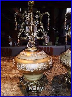 Pair Gorgeous VINTAGE Hollywood Regency Glass Prisms Electric Table Lamps