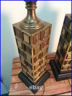 Pair Iconic 1960s Mid Century Modern Brass Table Lamp Chess Checkered