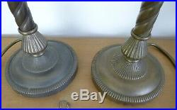 Pair Laura Ashley Brass Table Lamps Spiral Stem