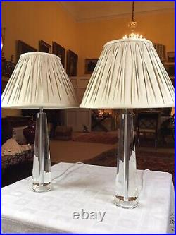Pair Laura Ashley Crystal Tapered Pyramid Facetted Glass Column Table Lamps