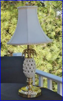 Pair Lenox 24 Pineapple Lamps by Quoizel Hollywood Regency with Original Shades