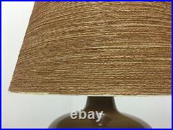Pair Lotte Bostlund Large Brown Pottery Pottery Lamps & Shades Danish Modern Era