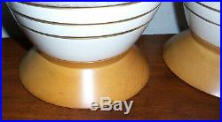 Pair MCM Vintage Mid Century Ceramic Table Lamps With Wood Bases & Rewired 3-Way