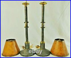 Pair Maitland Smith Tall Candlestick Table Lamps Gold Metal Brass Tole Shades