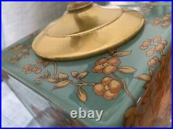 Pair Matching Teal Blue Gold Birds Chinoiserie Lamps With Shades