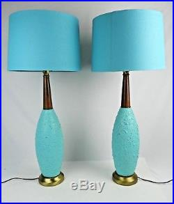 Pair Mid Century Modern Turquoise Blue Large 31 Walnut neck table lamps Teal