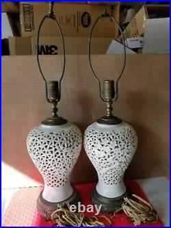 Pair Midcentury Hollywood Regency Reticulated Cherry Blossom Porcelain Lamps