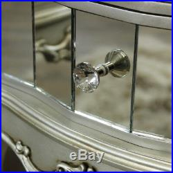 Pair Mirrored Venetian bedside cabinet lamp table bedroom furniture silver glass