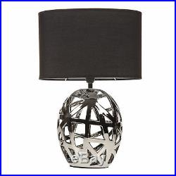 Pair Of 2 Geometric Cut Out Chrome Table Lamp Bedroom Bedside Lounge Black Shade