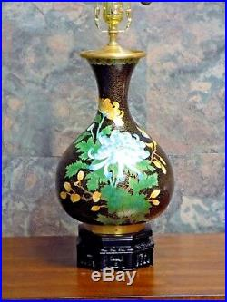 Pair Of 28 Cloisonne Lamps Black Bird & Flower, Chinese Vase Octagon Bases