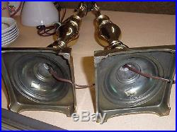 Pair Of 3-Way Stiffel Brass Candlestick Table Lamps