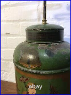 Pair Of Antique C19th Toleware Tea Canister Lamps Decorative Light Caddy Lamps