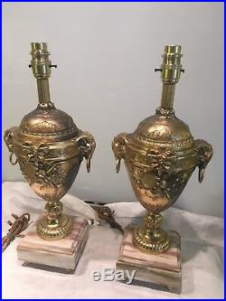 Pair Of Antique Gilt Metal And Marble French Table Lamps