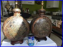 Pair Of Antique Indian Rajasthani Painted Metal Flask Table Lamps, Wooden Bases