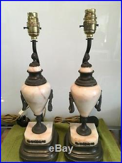 Pair Of Antique Quality Marble, Bronze Table Lamps