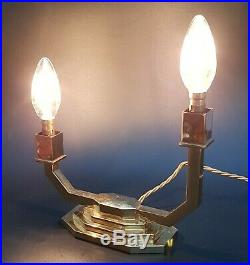 Pair Of Art Deco Brass Table Lamps Signed