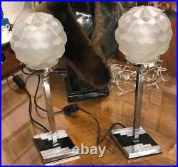 Pair Of Art Deco Table Lamps With Original Shades