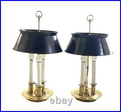 Pair Of Brass Lamps By Frederick Cooper Bouillotte Metal Shades Signed Vintage