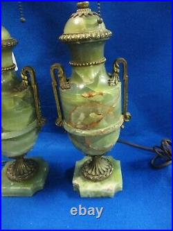 Pair Of Bronze And Onyx French Table Lamps Garnitures Urns