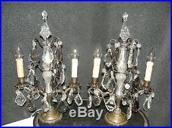 Pair Of Fabulous French Antique Girandole Chandelier Table Lamps