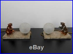 Pair Of Fine Art Deco Table Lamps Bear Statues Figurines France 1930s