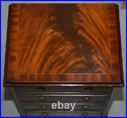 Pair Of Flamed Mahogany Bedside Lamp Wine End Table Sized Chest Of Drawers
