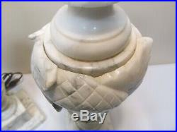 Pair Of Gorgeous Carved floral Antique Italian Alabaster Marble Table Lamps