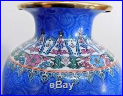 Pair Of Lamps Chinese Porcelain Cloisonne Blue 22 Tall