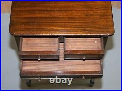 Pair Of Lovely 1880 Victorian Mahogany Three Drawer Side End Lamp Wine Tables