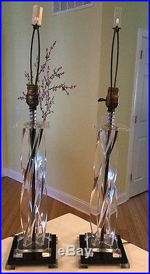 Pair Of Lucite Mid Century Vintage Table Lamps With Orig Finial