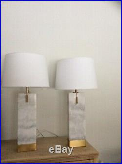 Pair Of Luxury Solid White Carrara Marble And Brass Table Lamps & Shades