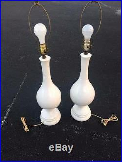 Pair Of MID Century Modern White Ceramic Bulbous Table Lamps