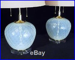 Pair Of Murano MID Century Modern Opaline Quilted XL Regency Table Lamps
