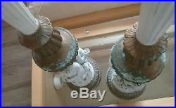 Pair Of Old French Porcelain Cherub Lamp Bases Table Lights For Restoration
