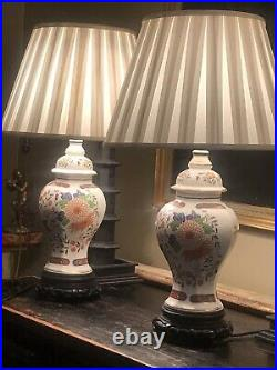 Pair Of Oriental Themed Vintage Porcelain Table Lamps On Carved Wood Bases