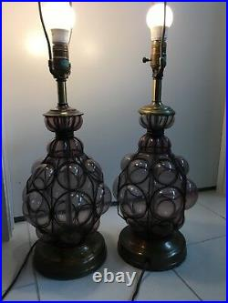 Pair Of Rare Murano Glass Table Lamps Hand Blown Caged Collectible
