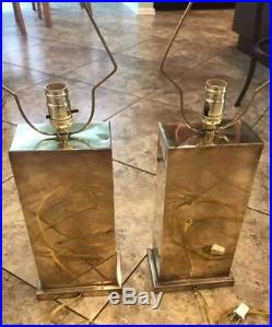 Pair Of Rare Vintage Brass Chinese Bamboo Lamps
