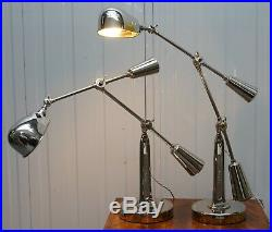 Pair Of Rrp £2150 Ralph Lauren Articulated Boom Arm Table Lamps Polished Nickle