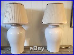 Pair Of Table Lamps Chinese Crackle Glaze Ginger Jars Silk Handmade Shades Large