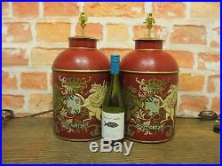 Pair Of Tea Tin Caddy Large Coat Of Arms Red Pair Of Table Lamps