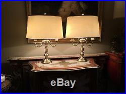 Pair Of Vintage Bouillotte Brass Table Lamps