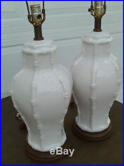 Pair Of Vintage Faux Bamboo Ginger Jar Style White Ceramic Table Lamp