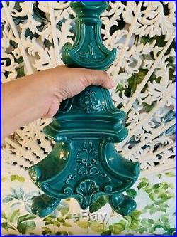 Pair Of Vintage Green Ceramic Pagoda Lamp Bases Hollywood Regency Chinoiserie